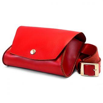 Женская кожаная сумка на пояс (Поясная) - красная