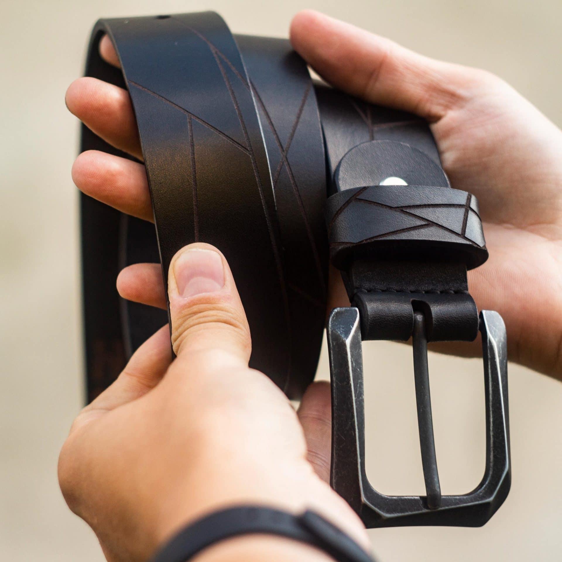 Mens Leather Belt Geometric - Black