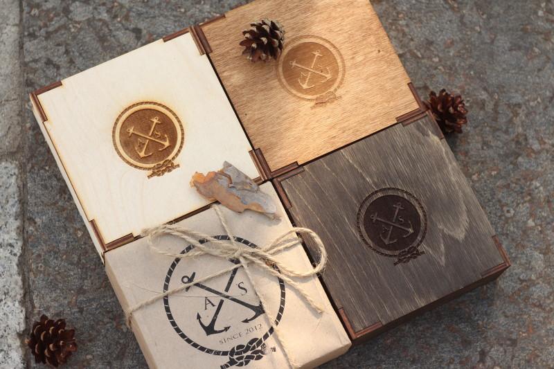 Подарочная деревянная коробочка коричневая