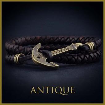Кожаный браслет с якорем ANCIENT GOLD