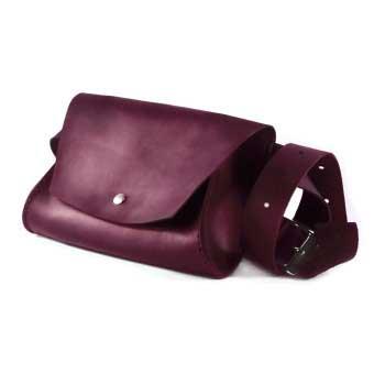 Женская кожаная сумка на пояс (Поясная) - марсала