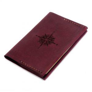 Кожаная обложка для паспорта - цвет марсала