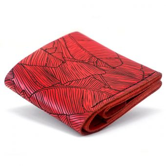 Женский кожаный кошелёк Square Fern - Red