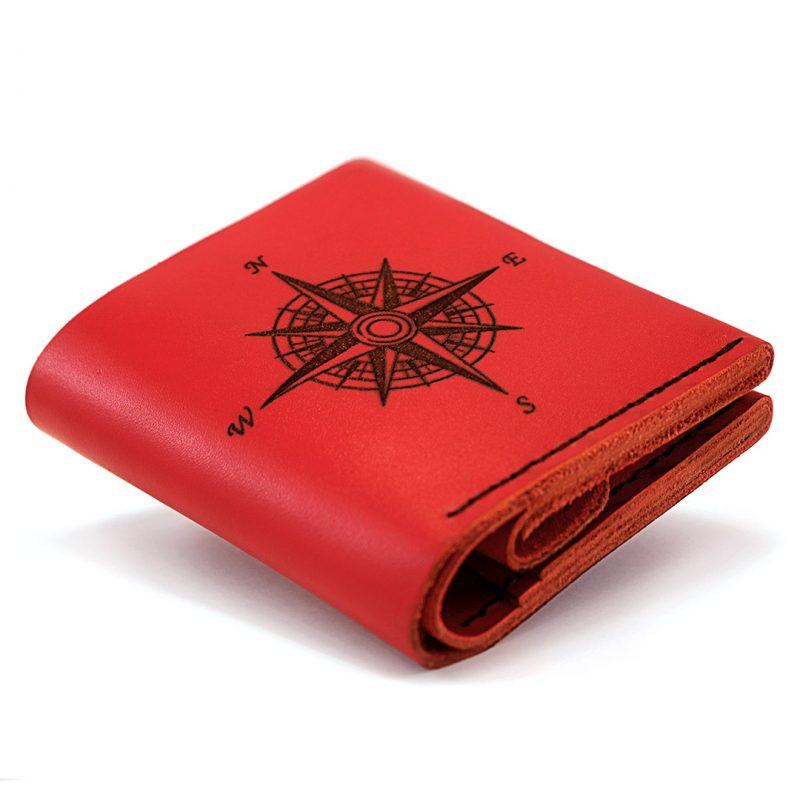 Женский кожаный кошелёк Square Compass - Red