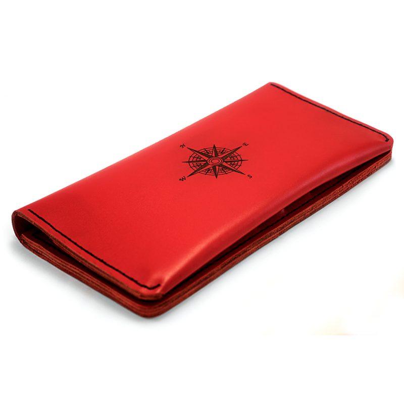 Клатч - портмоне The Travel с гравировкой Compass - Red