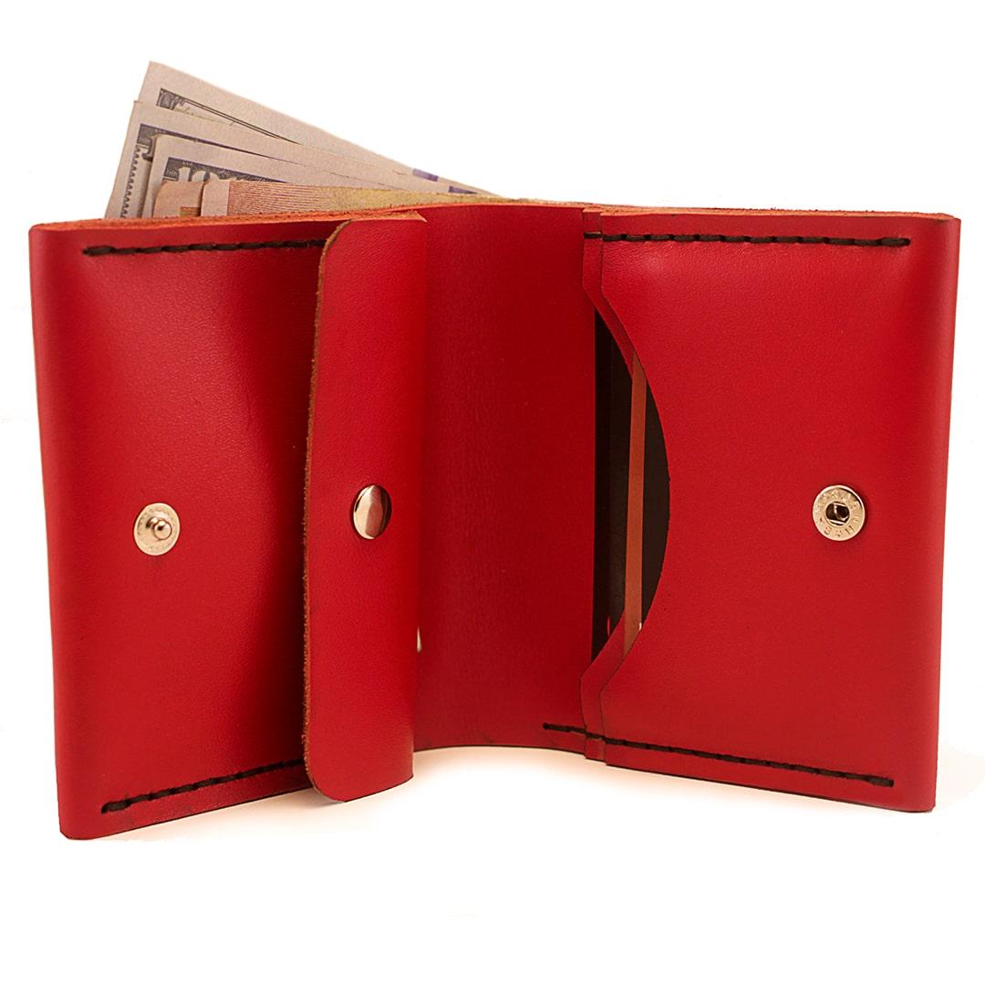 Женский кожаный красный кошелек